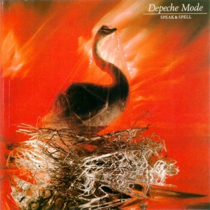 Portada del álbum de Depeche Mode Speak & Spell, 1981. Muestra a un cisne erguido sobre un extraño nido de ramas con fondo rojo