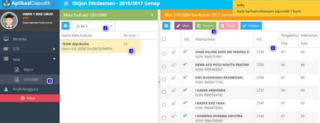 gambar 2 Cara Entri Data Nilai Rapor, US dan USBN Pada Aplikasi Dapodik 2017b