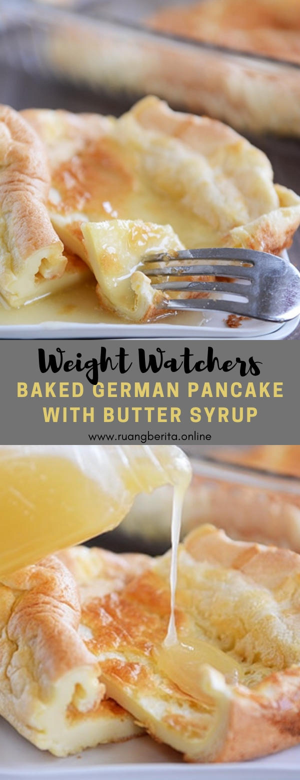 Weight Watchers Baked German Pancake with Butter Syrup #breakfast #weightwatchers #baked #german #pancake #butter #syrup