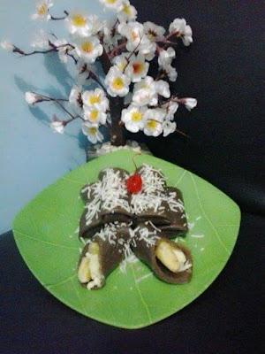 Resep dadar coklat isi pisang keju panggang paling enak   Resep Dadar Coklat Isi Pisang keju Panggang Paling Enak