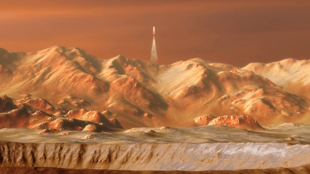 SpaceX BFR spaceship (BFS) landing in Martian crater