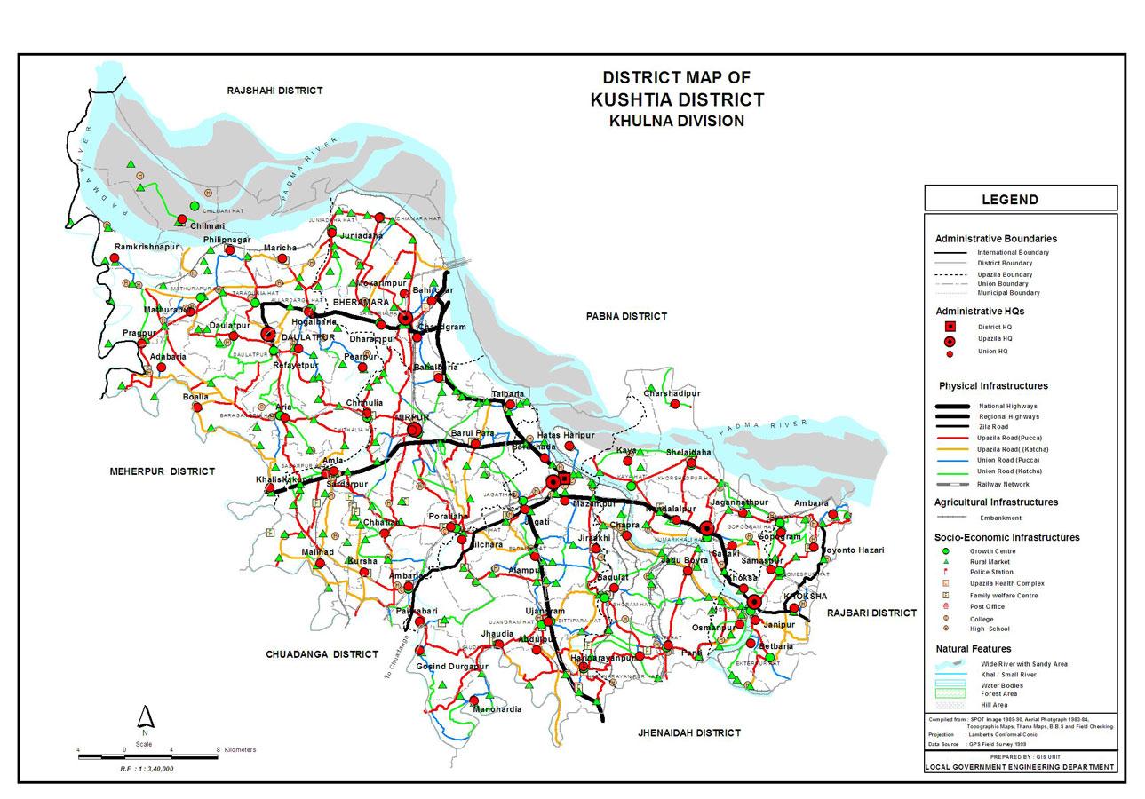 Kushtia District Map Bangladesh