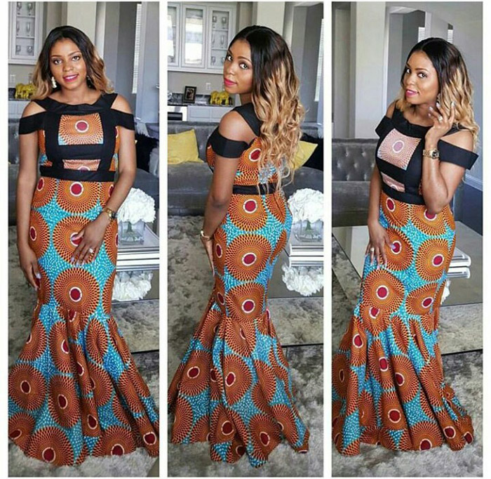plain and pattern ankara gown (10)
