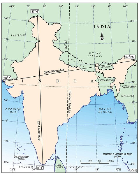 India - Size and Location Important map