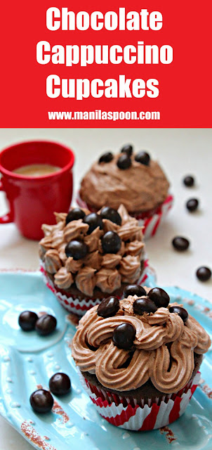 A delicious burst of coffee goodness in every bite of these Chocolate Cappuccino Cupcakes with a luscious espresso-flavored buttercream frosting! Perfect pair with your morning coffee! | manilaspoon.com