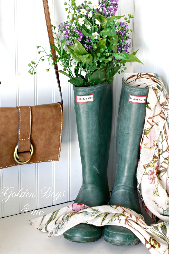 Green Hunter boots in spring mudroom - www.goldenboysandme.com