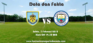 Data dan Fakta Fantasy Premier League GW 26 Burnley vs Manchester City Fantasi Manager Indonesia
