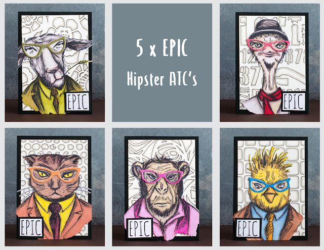 Hipster ATC's with Tim Holtz stamps and Sizzix dies
