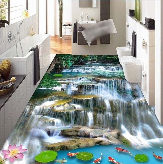 Sàn nhà 3D thác nước