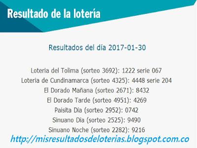 Loterias de Hoy | Resultados diarios de la Lotería y el Chance | Enero 30 2017