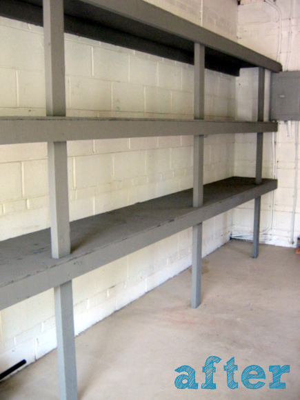 grey shelves in the garage