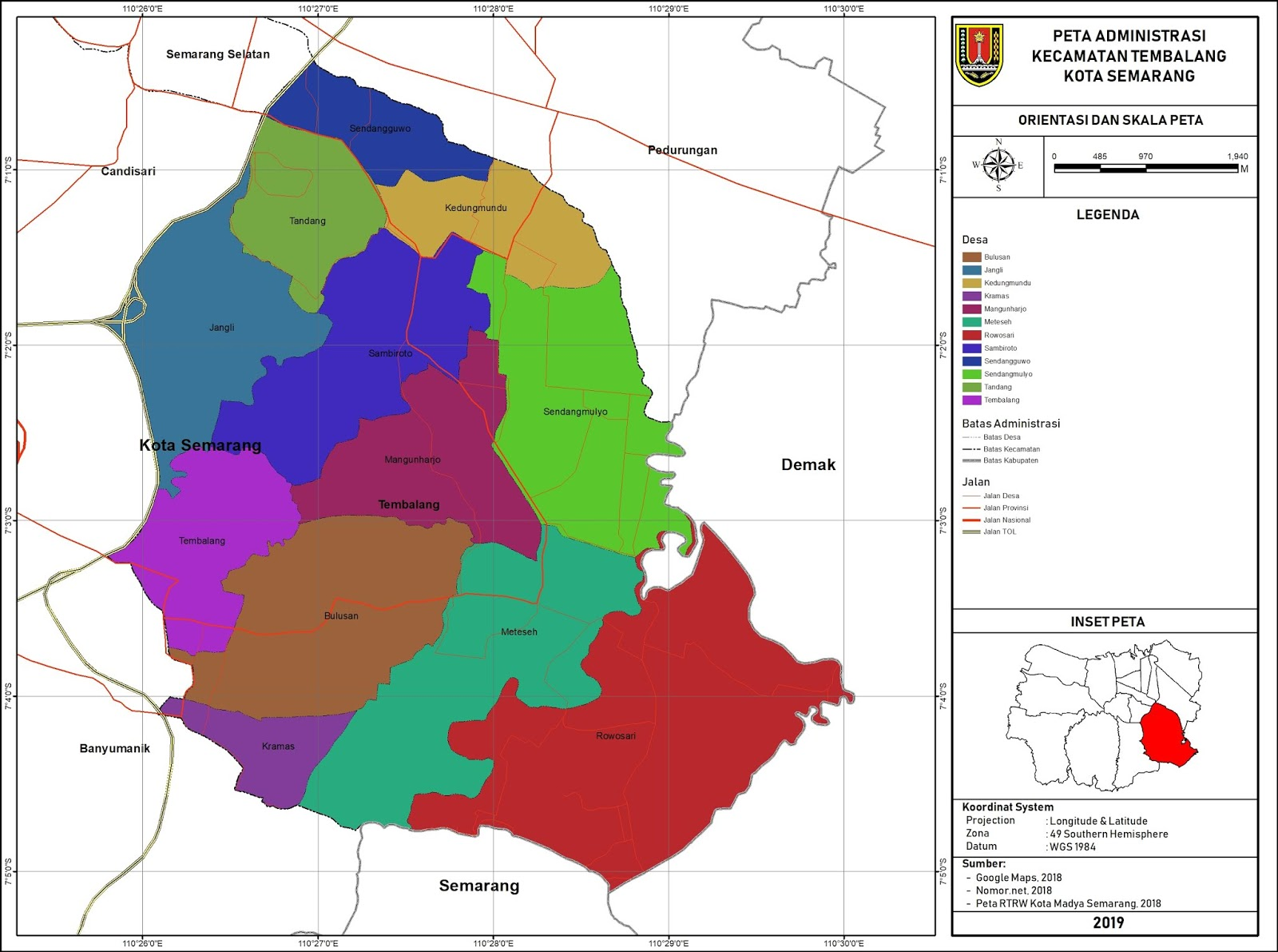 Peta Administrasi Kecamatan Tembalang, Kota Semarang ...