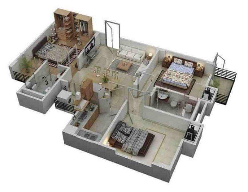 denah rumah 8x12 1 lantai kamar 3 3