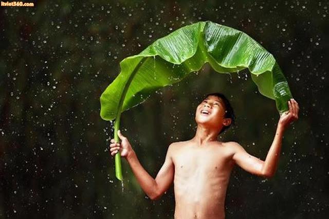 """Chùm hình ảnh đẹp nghệ thuật về """"tuổi thơ tôi"""", tắm mưa"""