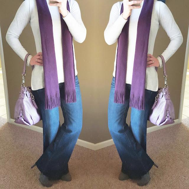 Banana Republic Tunic // 7 For All Mankind Jeans // Target Scarf (similar) // Jessica Simpson Booties - 45% off! // Coach Handbag (similar) // Natasha Bracelet (similar - only $10!)