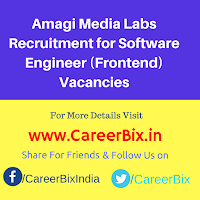 Amagi Media Labs Recruitment for Software Engineer (Frontend) Vacancies