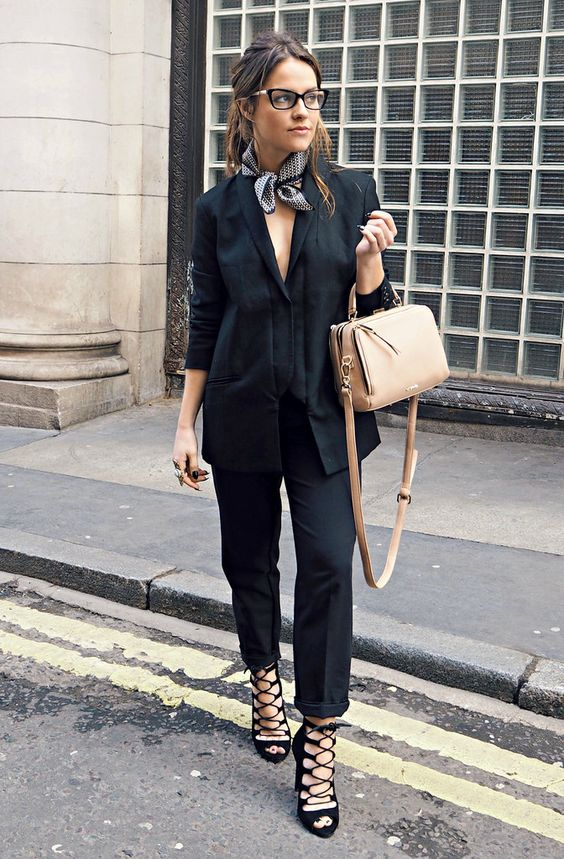 neck scarf with black suit cute street style trend