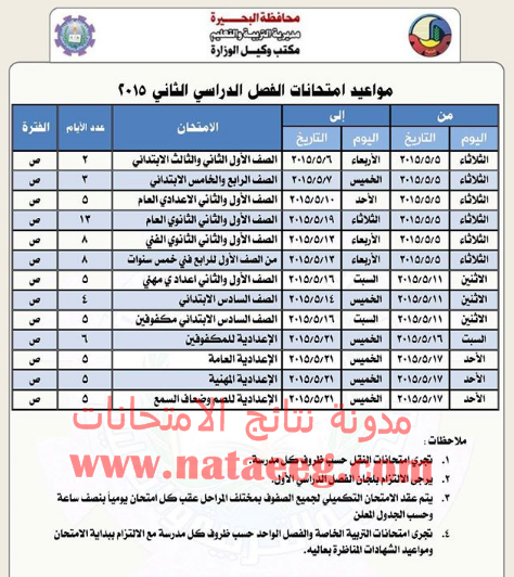 محافظة البحيره: جدول مواعيد امتحانات الترم الثانى 2015