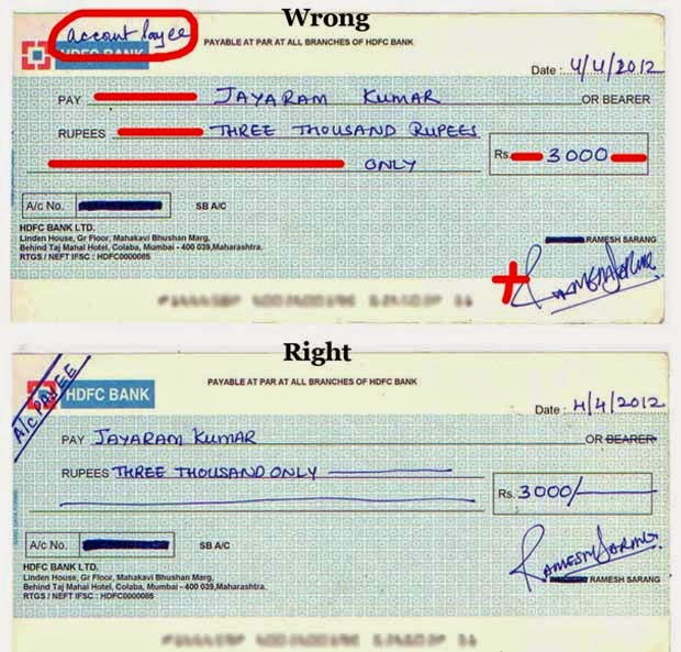 How to write an indian bank check