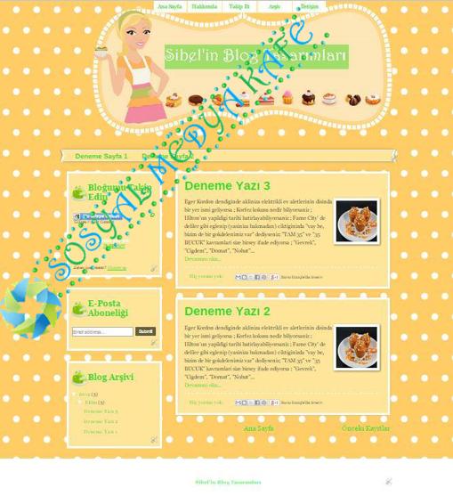 Blogger-Blog Tema Tasarım Turuncu Cupcake