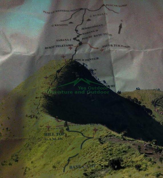 Peta pendakian gunung Merbabu via Selo Basecamp Baru