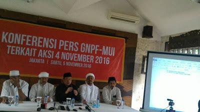 Beberapa hasil konferensi Pers GNPF MUI terkait aksi damai 4/11