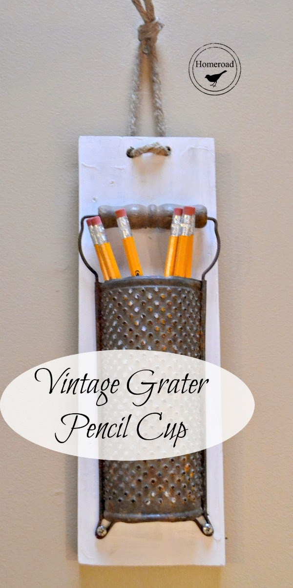 Vintage grater pencil cup www.homeroad.net