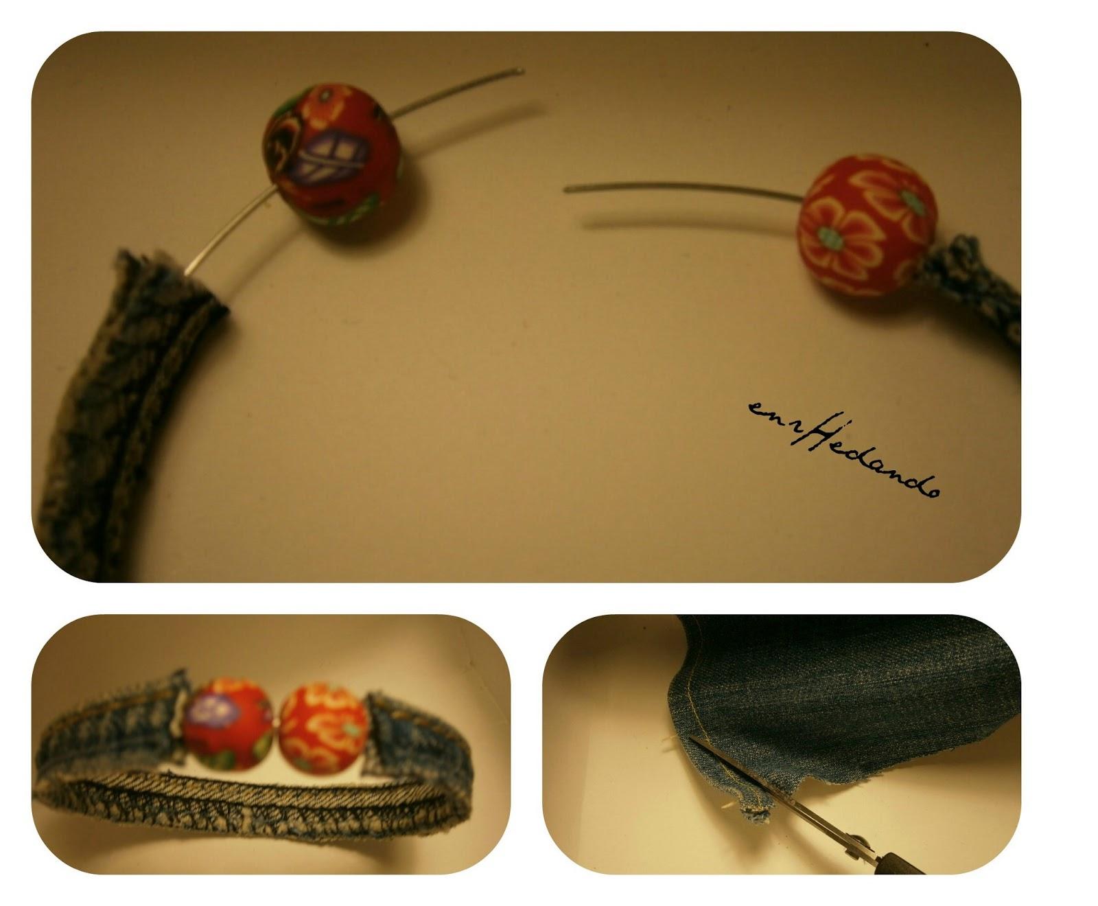 pulseras, vaqueras, alfabeto morse, diys bracelets with denim fabric