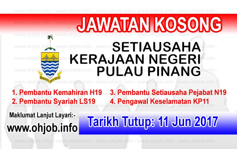 Jawatan Kerja Kosong Pejabat Setiausaha Kerajaan Negeri Pulau Pinang  logo www.ohjob.info jun 2017