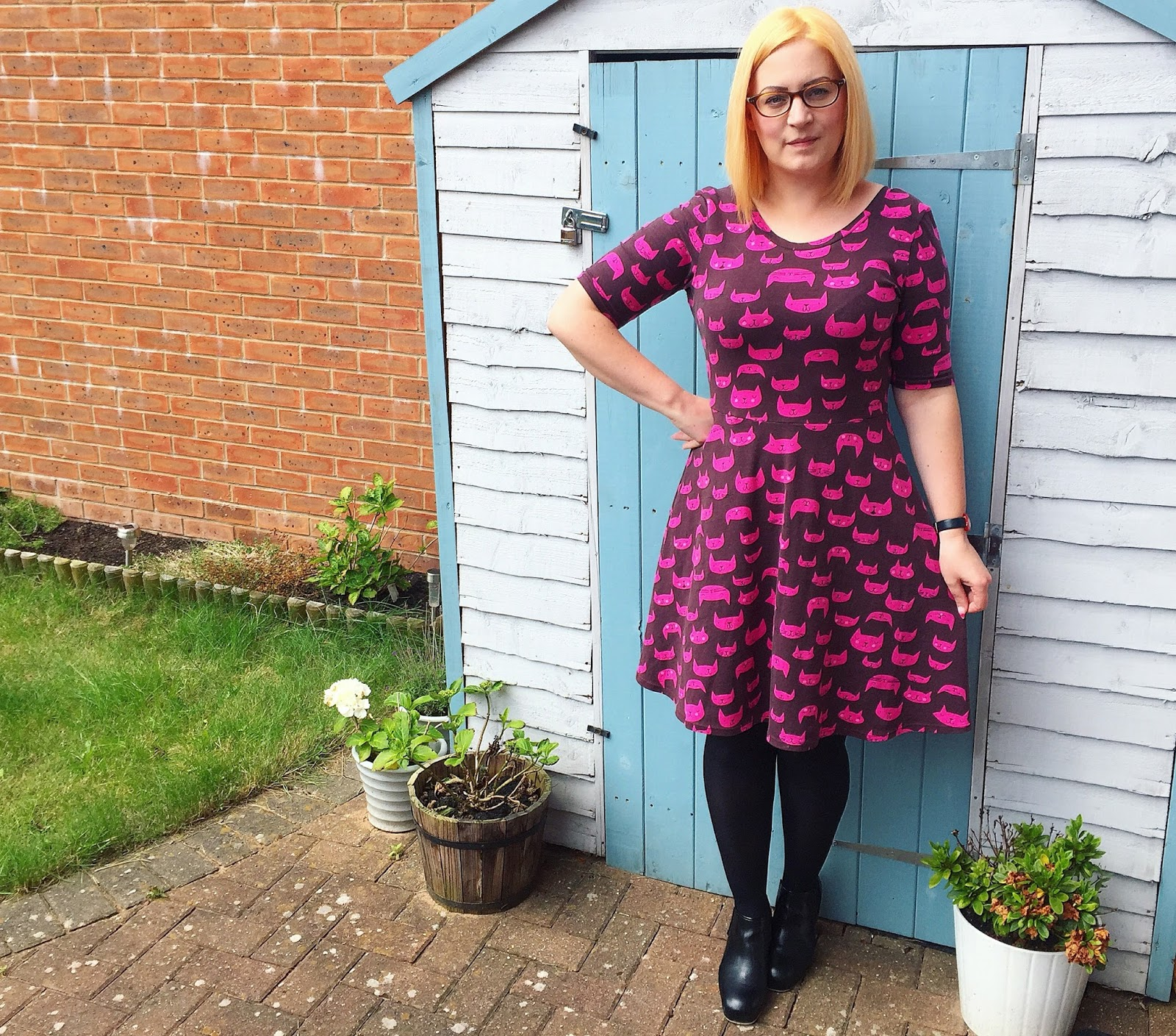0e24ceaa79 Dress  Made by me using Lizzy House Cattitude cat fabric from Modes4U   Pattern  Lady Skater Dress by Kitschy Coo Shoes  Orla Kiely x Clarks