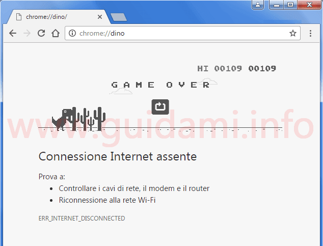 Chrome gioco del dinosauro online