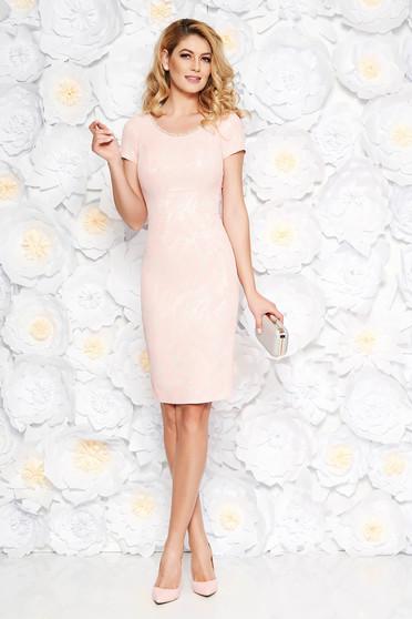 Rochie roz deschis de ocazie midi tip creion din jaquard captusita pe interior cu aplicatii cu margele