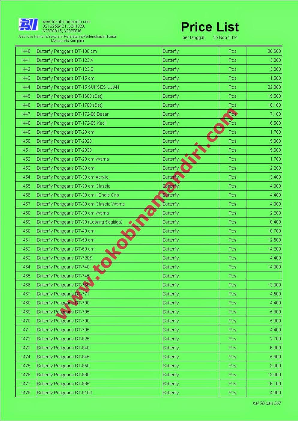 Daftar Harga Alat Tulis ATK038 - Penggaris Butterfly