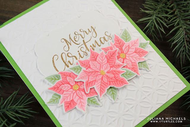 Merry Christmas Card Clustered Poinsettias by Juliana Michaels featuring Sunny Studio Stamps Petite Poinsettia Stamp Set