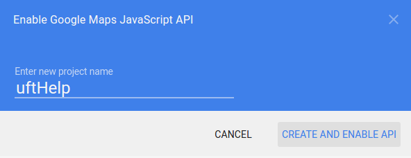 create new project in google map api