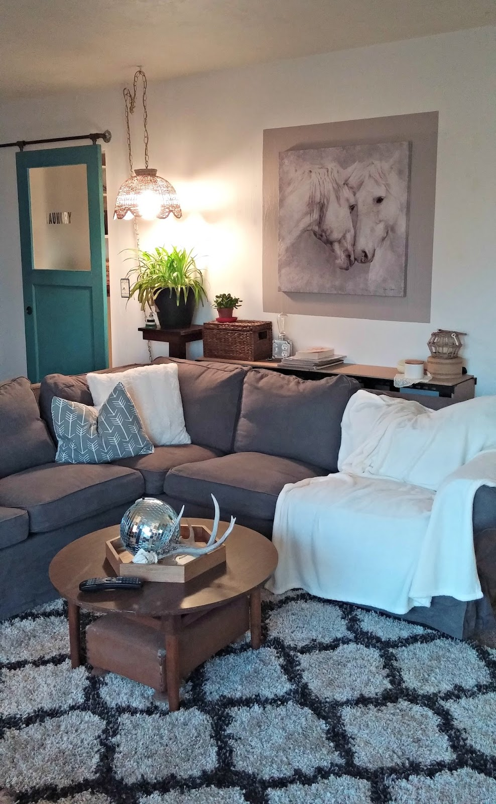 Couch Shops Cozy Minimalist Living Room Reveal - Little Vintage Cottage