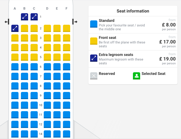 independent travel planning: Ryanair Boeing 737 Max seatmap