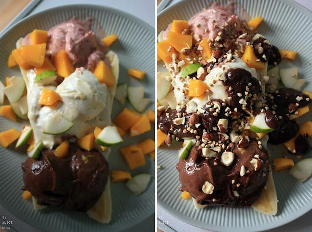 banana split, banana, chocolate, strawberry, vanilla, ice cream, dessert, vegan
