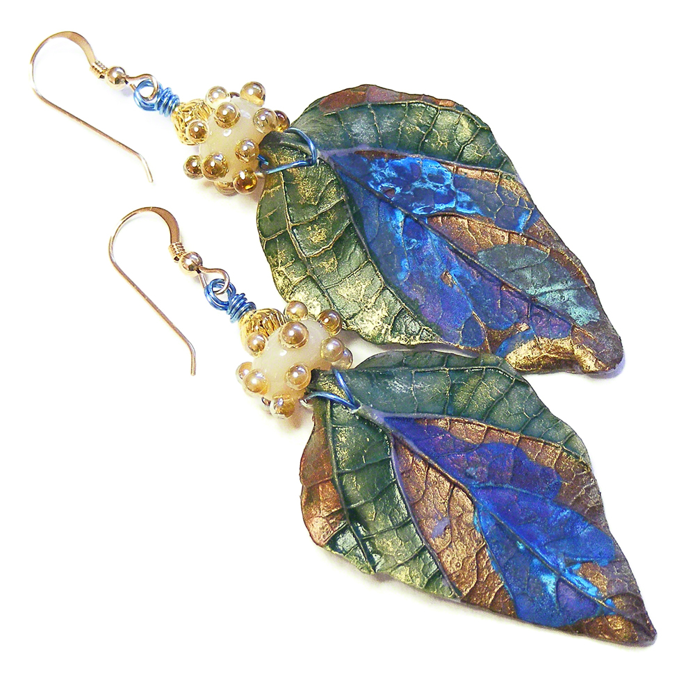 Organic Blue Leaf Earrings by Erika Price
