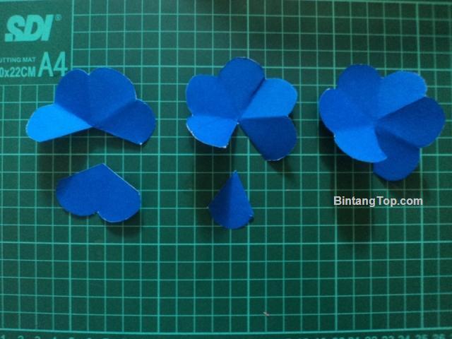 3 pola bunga, gunting kelopaknya secara berbeda