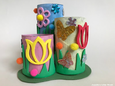 Upcycled cardboard tube pen and pencil pot craft