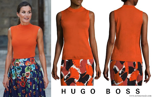 Queen Letizia wore HUGO BOSS Foebe Knit Wool Top