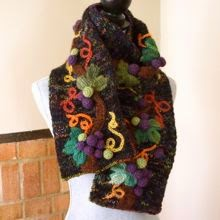 Hand Knitted Scarf: Grape Vines