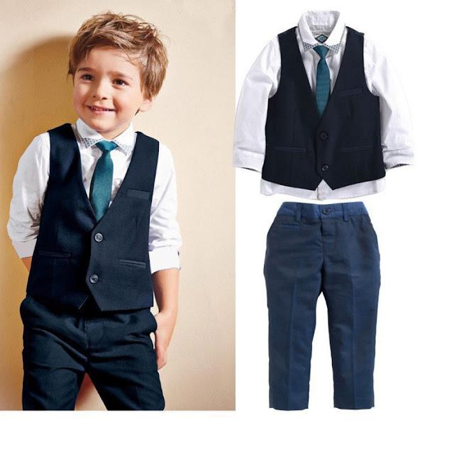 Long Sleeve Shirt Vest Trouser Tie 4 Piece Sets