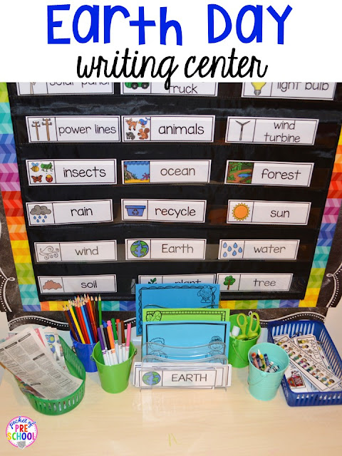 Earth Day writing center or writing desk. Plus FREE Earth Day vocabulary posters! Perfect for preschool, pre-k, or kindergarten.