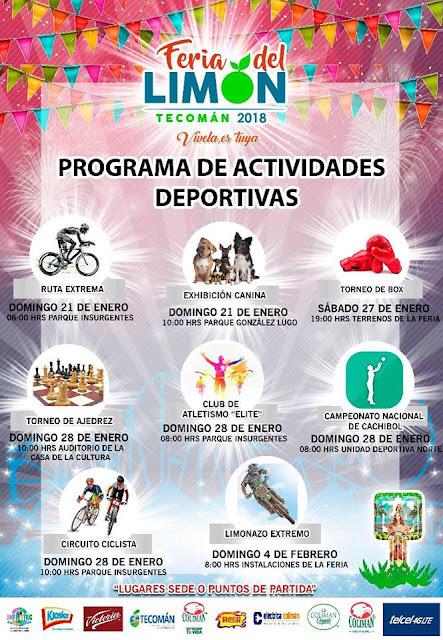 programa deportivo feria del limón tecomán 2018