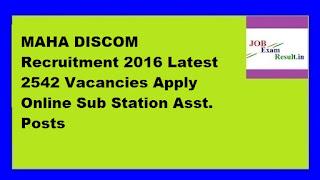 MAHA DISCOM Recruitment 2016 Latest 2542 Vacancies Apply Online Sub Station Asst. Posts