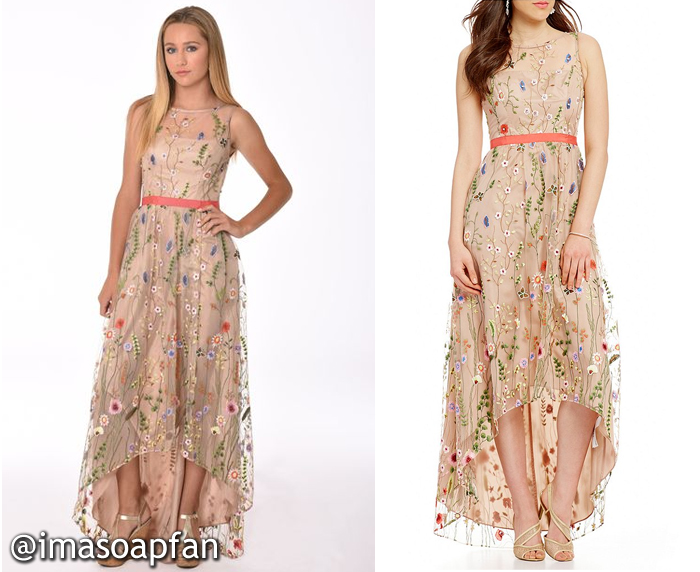 Josslyn Jacks, Eden McCoy, Blush Pink Mesh Gown with Floral Embroidery, Adrianna Papell, GH, Nurses Ball, General Hospital