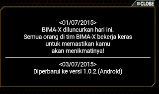 janji update game bima x