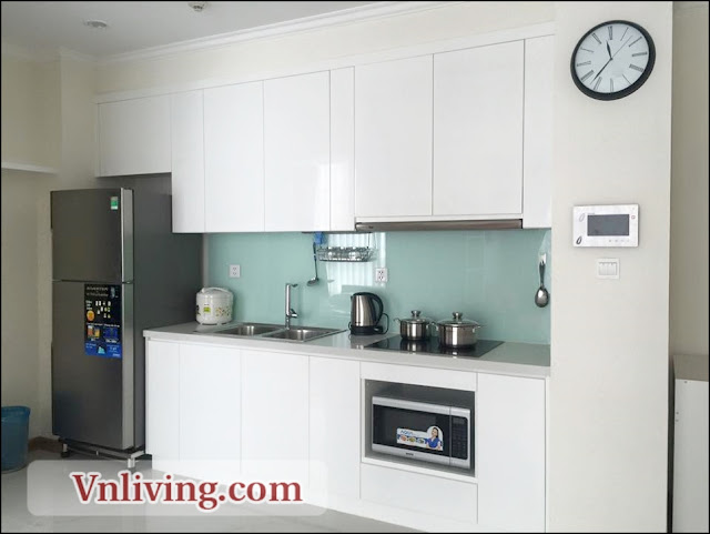 Kitchen room shinny clean type 1 bedroom apartment Vinhomes Central Park
